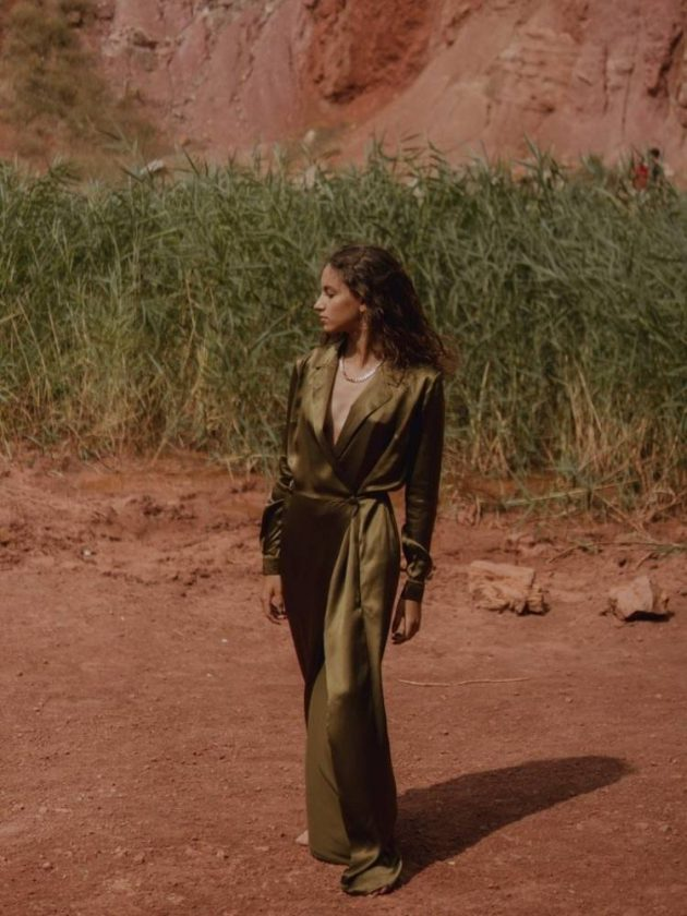 Green silk ethical jumpsuit from Bastet Noir