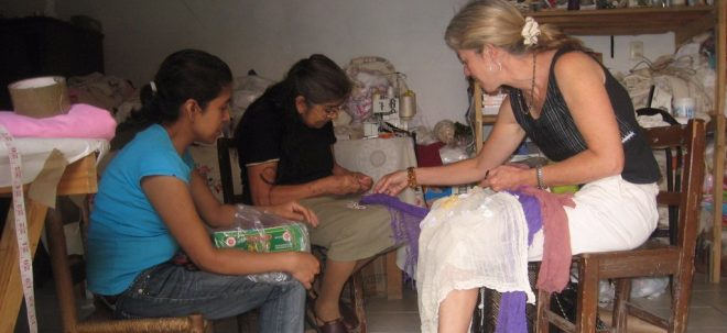 Founder working with artisans
