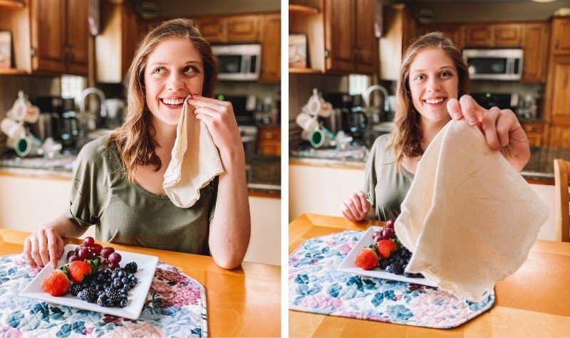 Sustainable kitchen products - reusable cloth napkins
