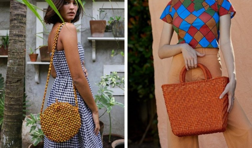 handcrafted ethical bags in brown and orange from Artesano