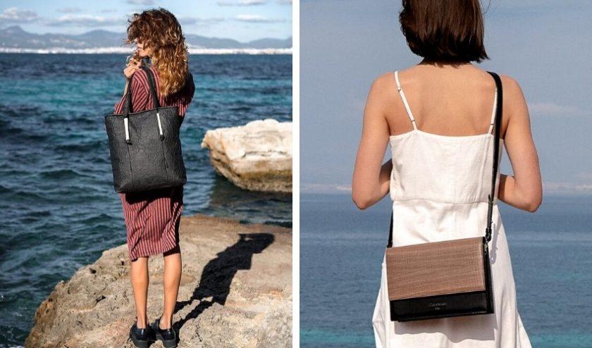 handcrafted black handbag brown bag made of Pinatex from Maravillas