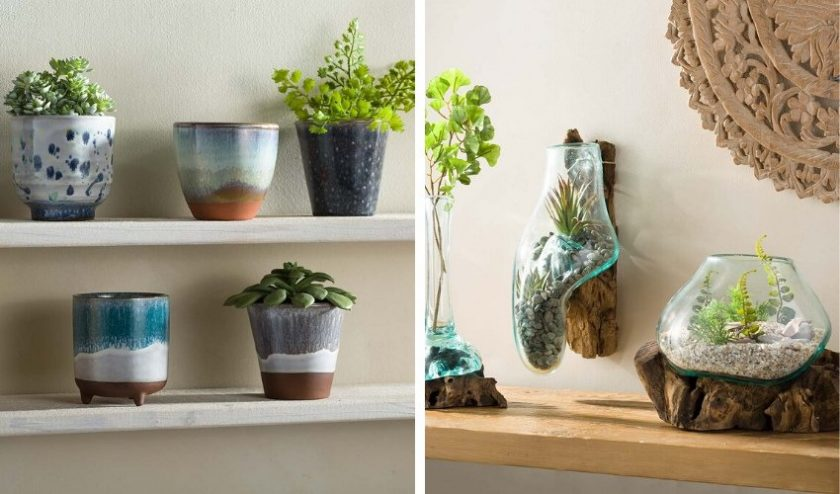 eco-friendly home decor made of natural material and recycled glass