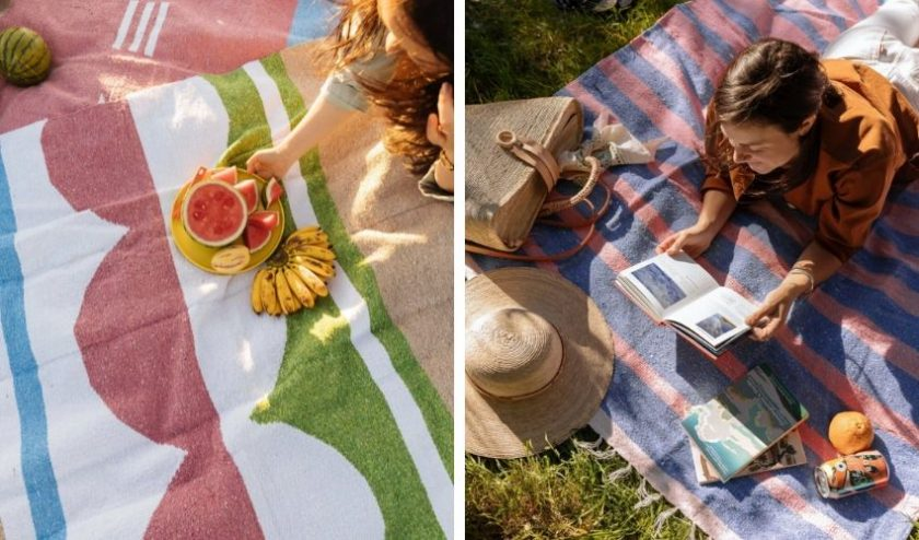 Eco-friendly picnic blankets with California-inspired colors and traditional Mexican patterns