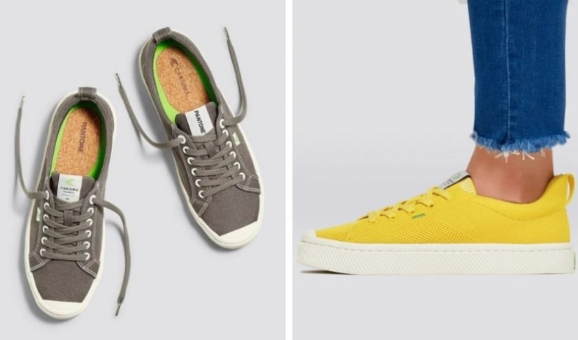 Carium sneakers made with econ-friendly materials like organic cotton, cork, recycled PET, bamboo