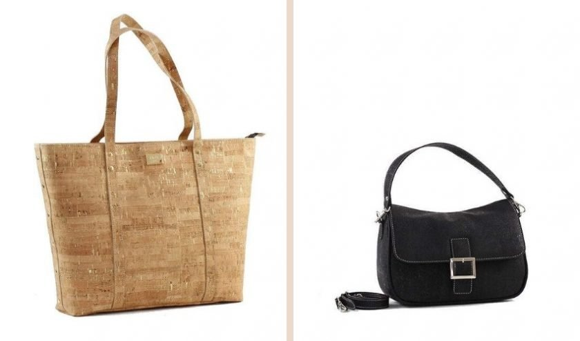 handcrafted brown cork bag and black cork bag made with locally sourced cork