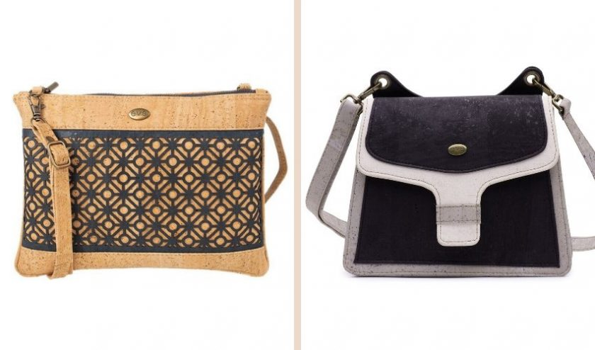 eco-friendly handcrafted brown cork handbag with a pattern and black cork handbag with grey accents from Eve Cork