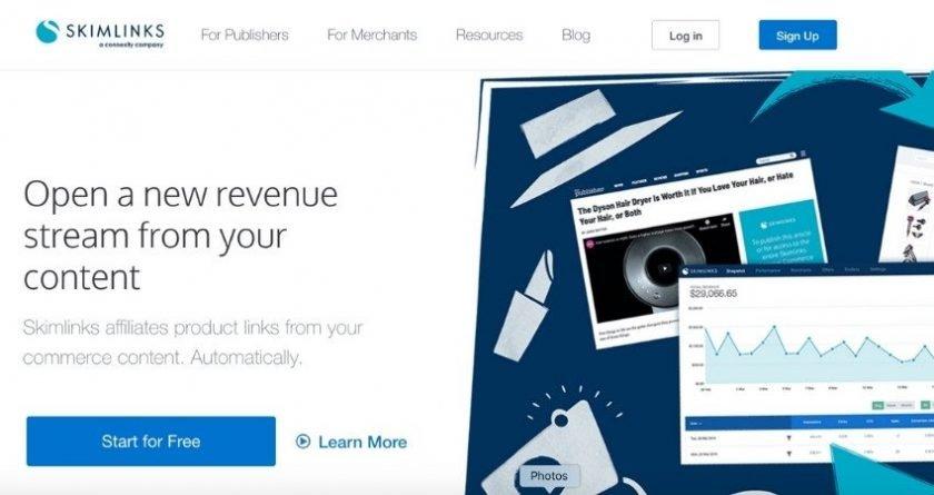 Skimlinks website screenshot