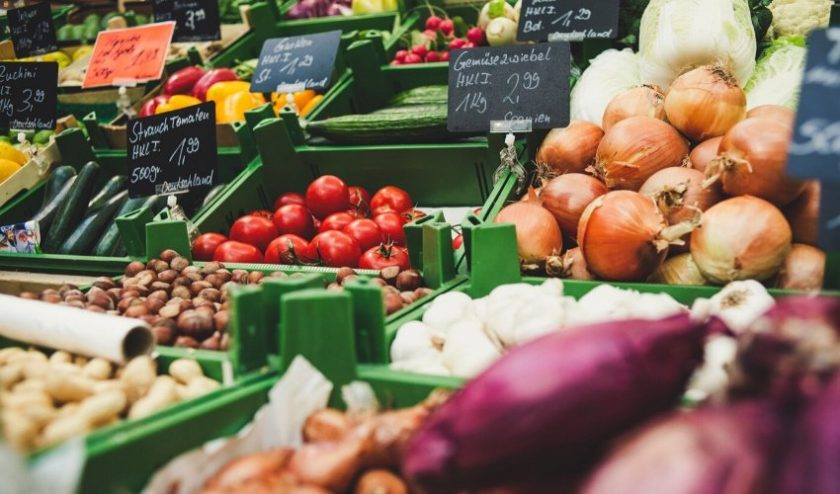 Various produce in green bins - shop local at your grocery store