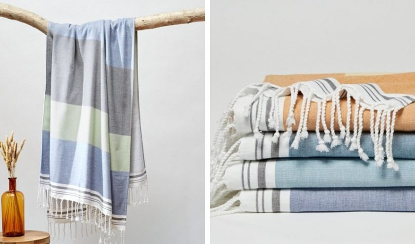 Colorful striped organic beach towels from Coyuchi
