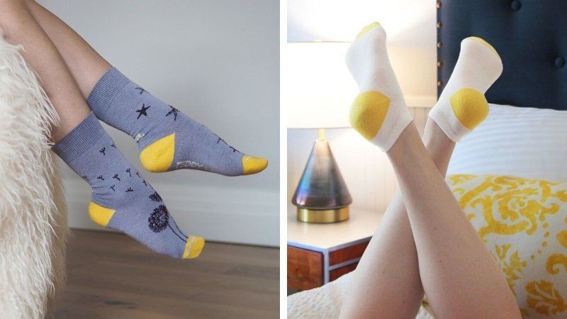 Sustainable yellow, gray, and white socks made from recycled fibers