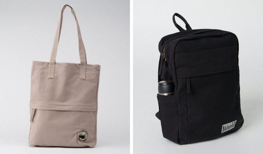 Eco-friendly organic cotton gray tote bag and black backpack