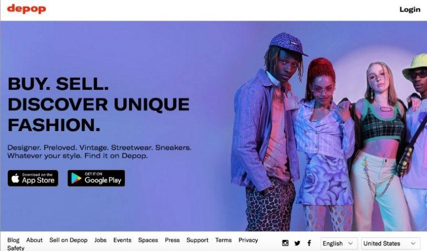 Homepage of secondhand site depop