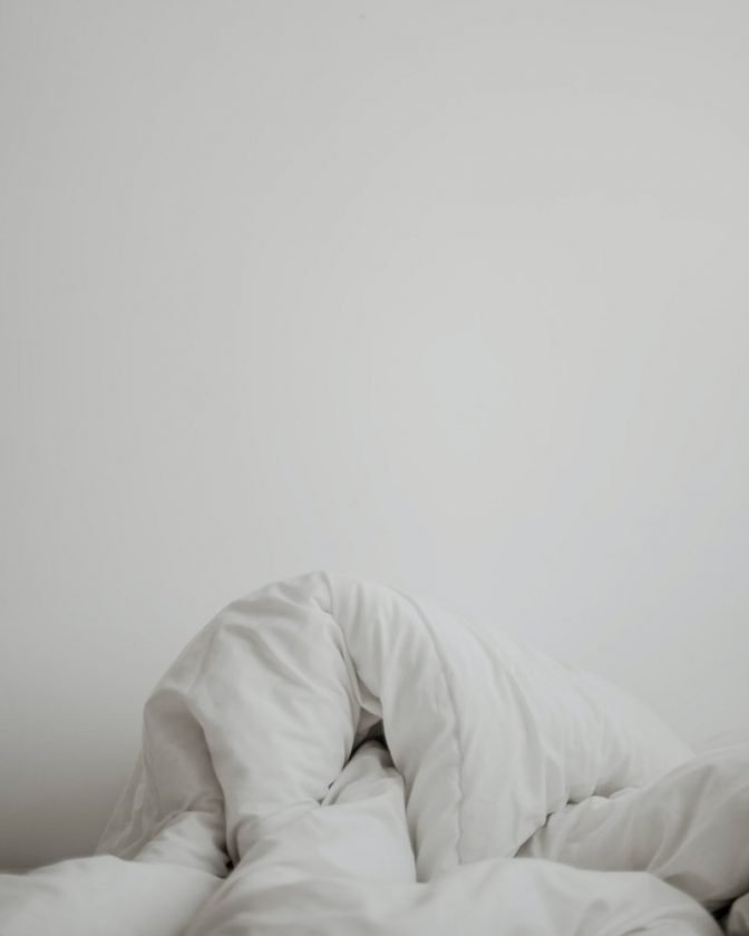 White blanket with a lot of white space
