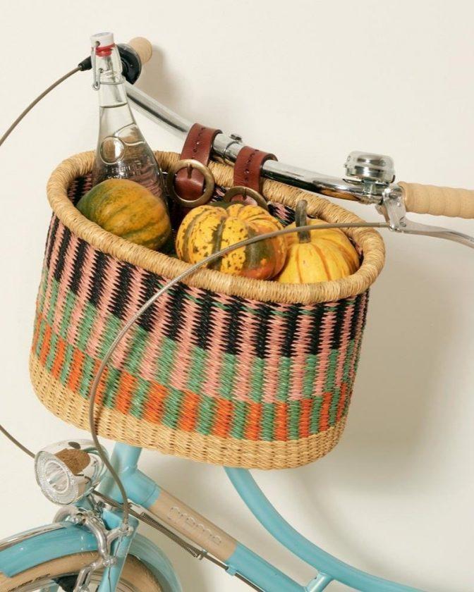Artisan-made fair trade gift: bicycle basket from GOODEE