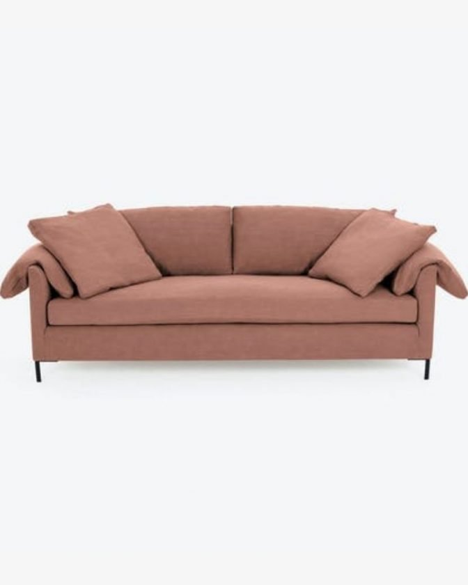 Blush pink eco-friendly couch from abc carpet & home