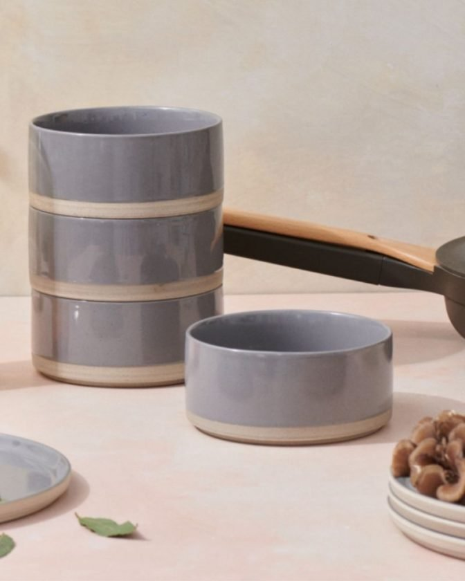 Gray bowls from eco-friendly dinnerware brand Our Place