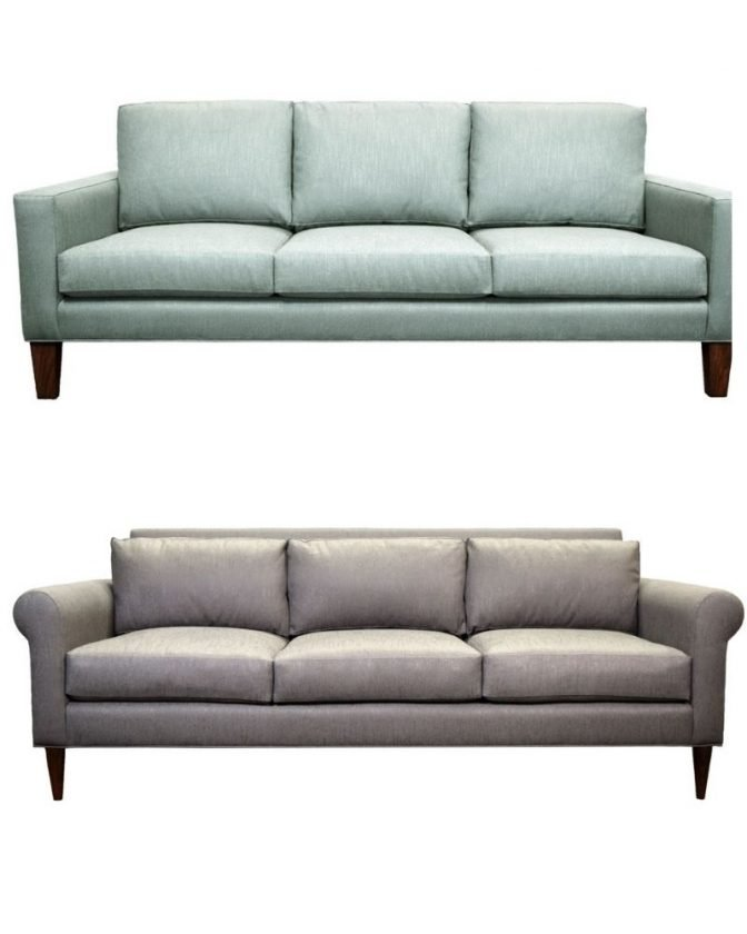 Blue organic sofa and gray organic sofa from EcoBalanza