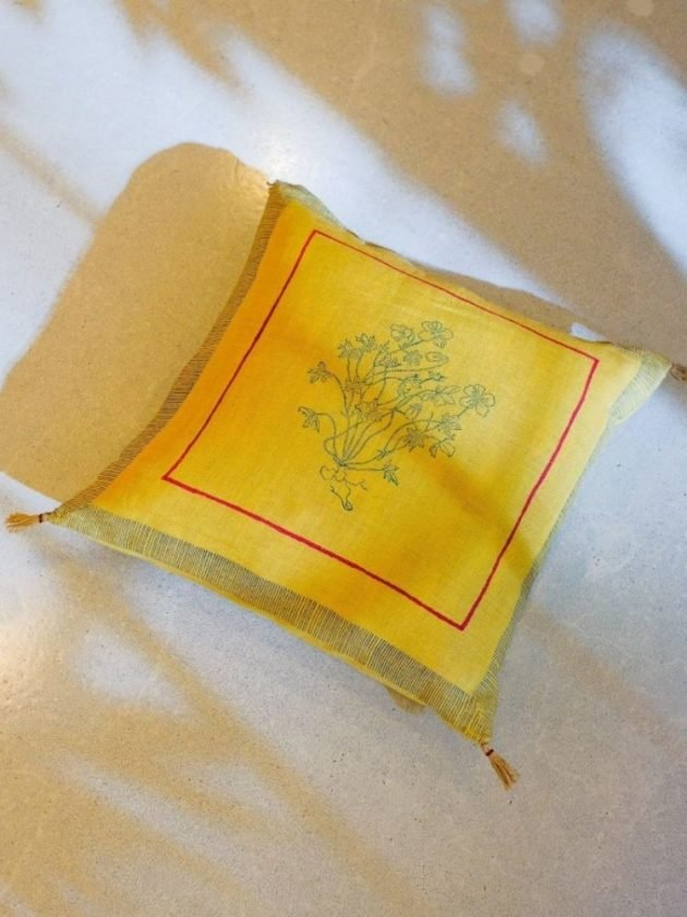 Yellow sustainable and ethical throw pillows from Soil to Studio