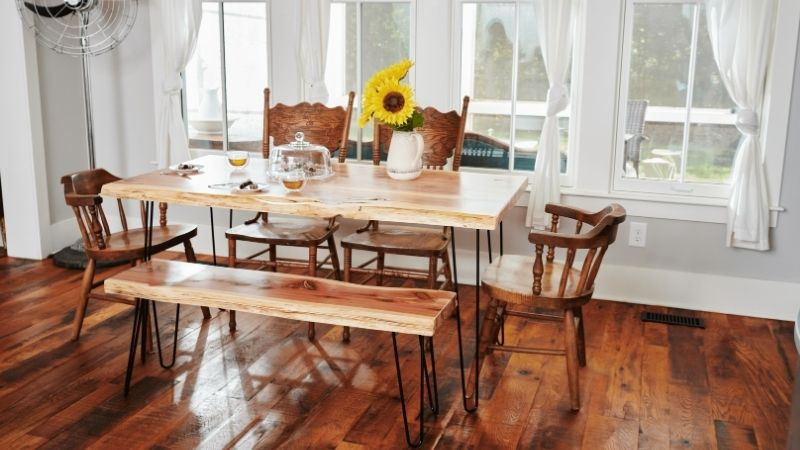 Rustic table from sustainable tables brand Knaughty Log Co.