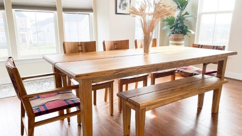 Brown dining table from sustainable tables brand Masaya & Co