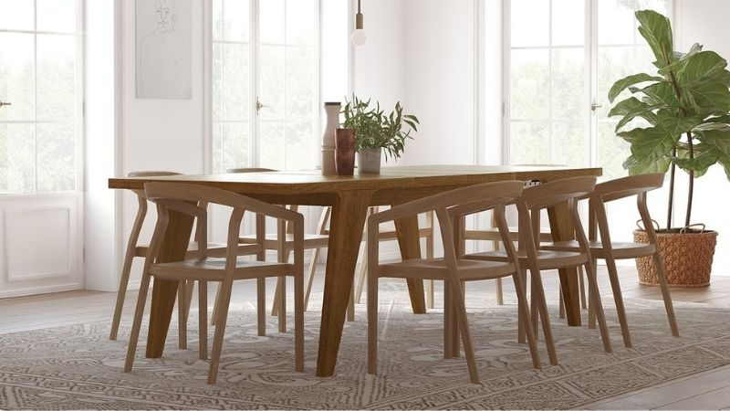 Brown dining table from sustainable tables brand Medley