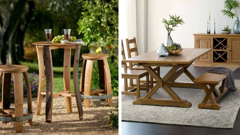Reclaimed wooden tables from sustainable tables brand Vivaterra