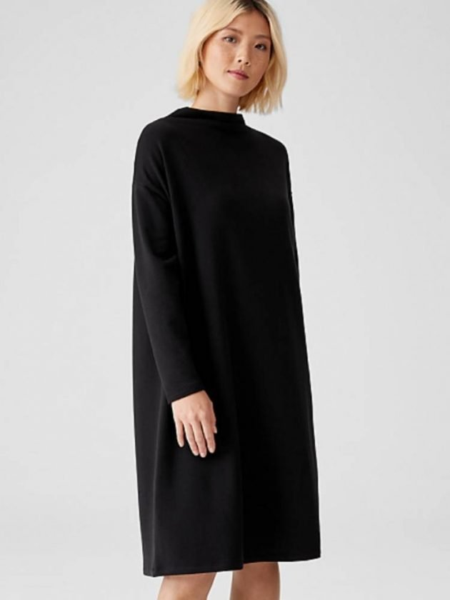 Black organic and sustainble dress from Eileen Fisher