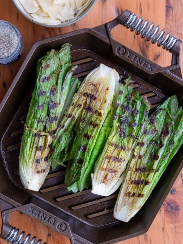 Vegetables in non-toxic iron skillet from Finex