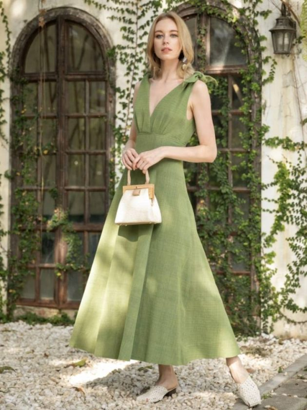 Green ethical dress from Rare & Fair