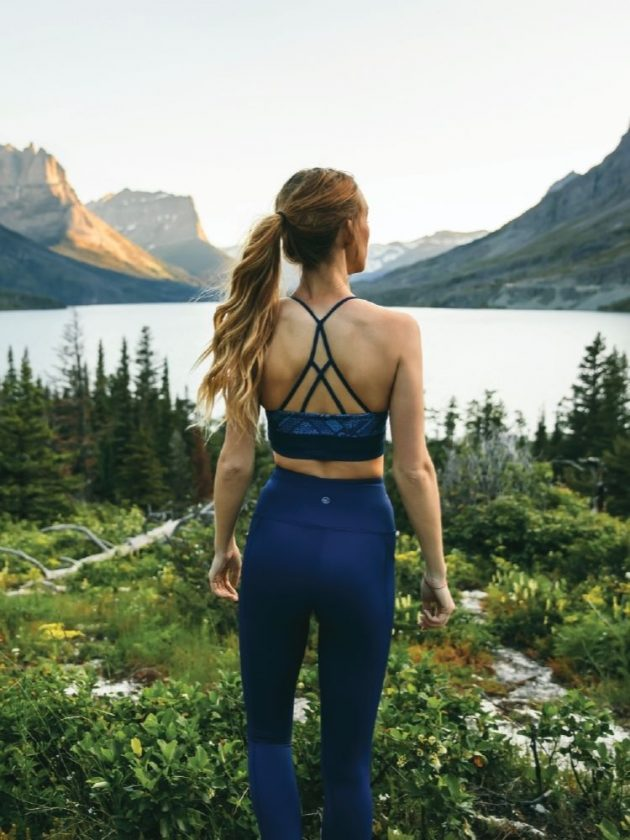 Blue sustainable active wear outfit from Kaira Active