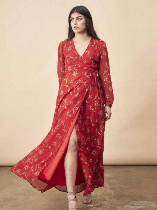 Red sustainable dress from Symbology